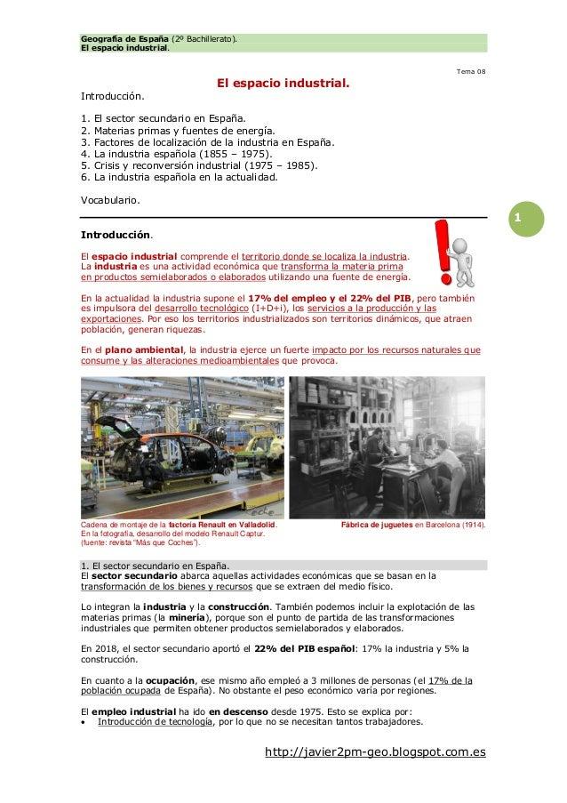 Geografía de España (2º Bachillerato). El espacio industrial. http://javier2pm-geo.blogspot.com.es 1 Tema 08 El espacio in...