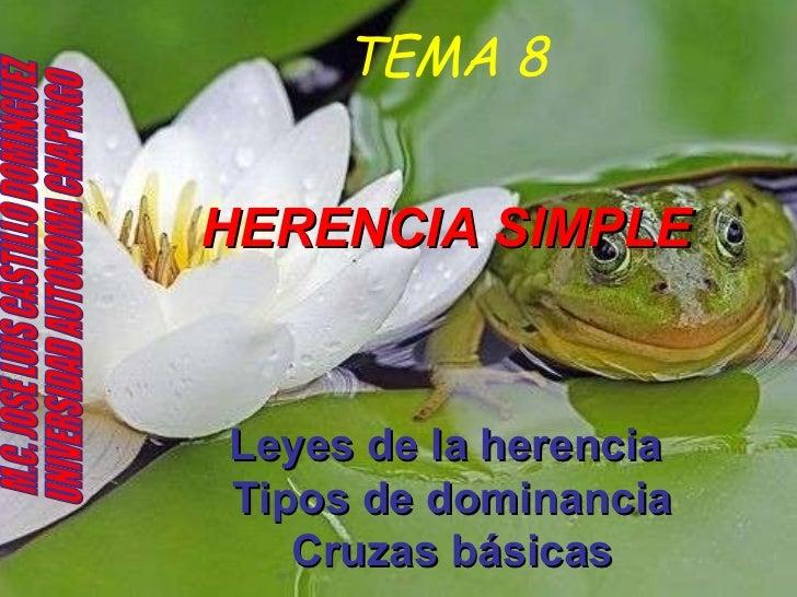 TEMA 8 HERENCIA SIMPLE Leyes de la herencia  Tipos de dominancia   Cruzas básicas   M.C. JOSE LUIS CASTILLO DOMINGUEZ UNIV...