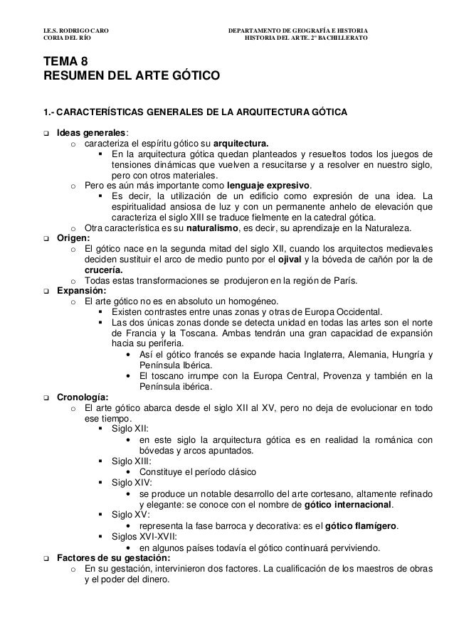 I.E.S. RODRIGO CARO DEPARTAMENTO DE GEOGRAFÍA E HISTORIA CORIA DEL RÍO HISTORIA DEL ARTE. 2º BACHILLERATO TEMA 8 RESUMEN D...