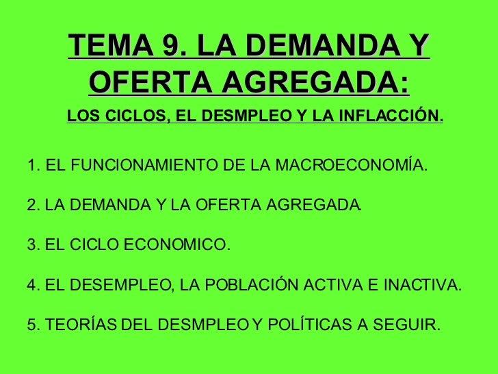 TEMA 9. LA DEMANDA Y OFERTA AGREGADA: LOS CICLOS, EL DESMPLEO Y LA INFLACCIÓN. <ul><li>EL FUNCIONAMIENTO DE LA MACROECONOM...