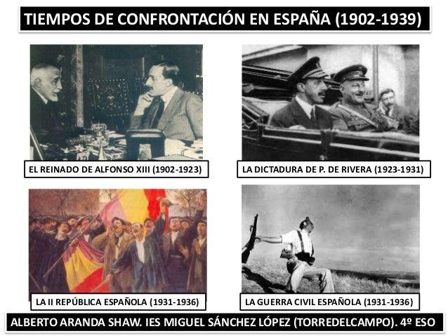 TIEMPOS DE CONFRONTACIÓN EN ESPAÑA (1902-1939) ALBERTO ARANDA SHAW. IES MIGUEL SÁNCHEZ LÓPEZ (TORREDELCAMPO). 4º ESO EL RE...