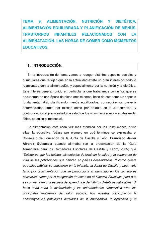 TEMA 9. ALIMENTACIÓN, NUTRICIÓN Y DIETÉTICA. ALIMENTACIÓN EQUILIBRADA Y PLANIFICACIÓN DE MENÚS. TRASTORNOS INFANTILES RELA...
