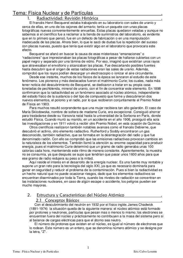 Tema: Física Nuclear y de Partículas                                                                    .             El f...