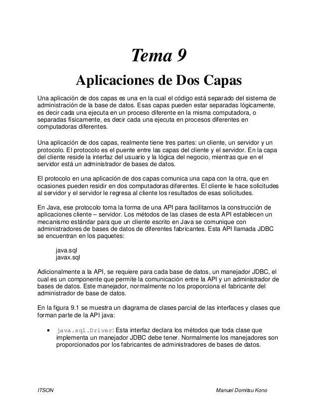 ITSON Manuel Domitsu Kono Tema 9 Aplicaciones de Dos Capas Una aplicación de dos capas es una en la cual el código está se...