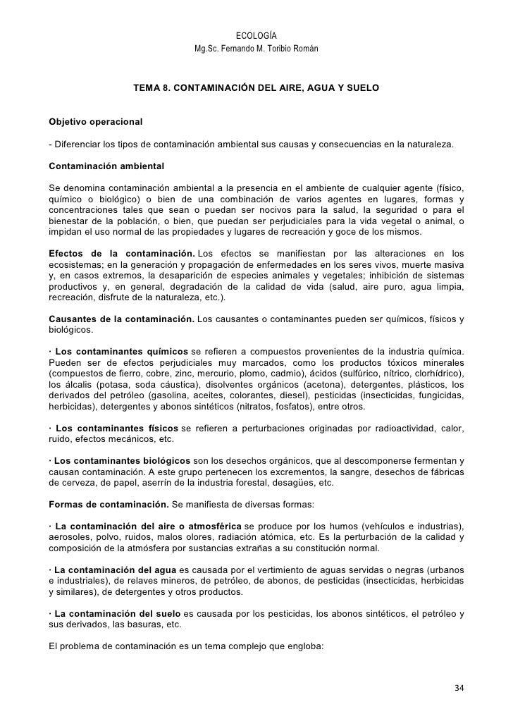 ECOLOGÍA                                     Mg.Sc. Fernando M. Toribio Román                        TEMA 8. CONTAMINACIÓN...