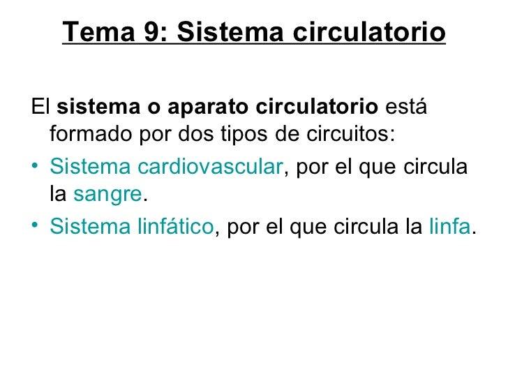 Tema 9: Sistema circulatorio <ul><li>El  sistema o aparato circulatorio  está formado por dos tipos de circuitos: </li></u...