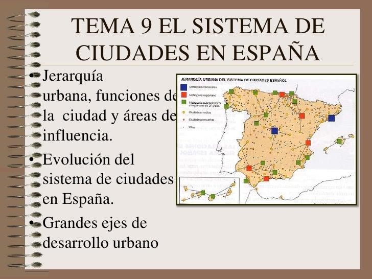 TEMA 9 EL SISTEMA DE CIUDADES EN ESPAÑA<br />Jerarquía urbana, funciones de la  ciudad y áreas de influencia.<br />Evoluci...