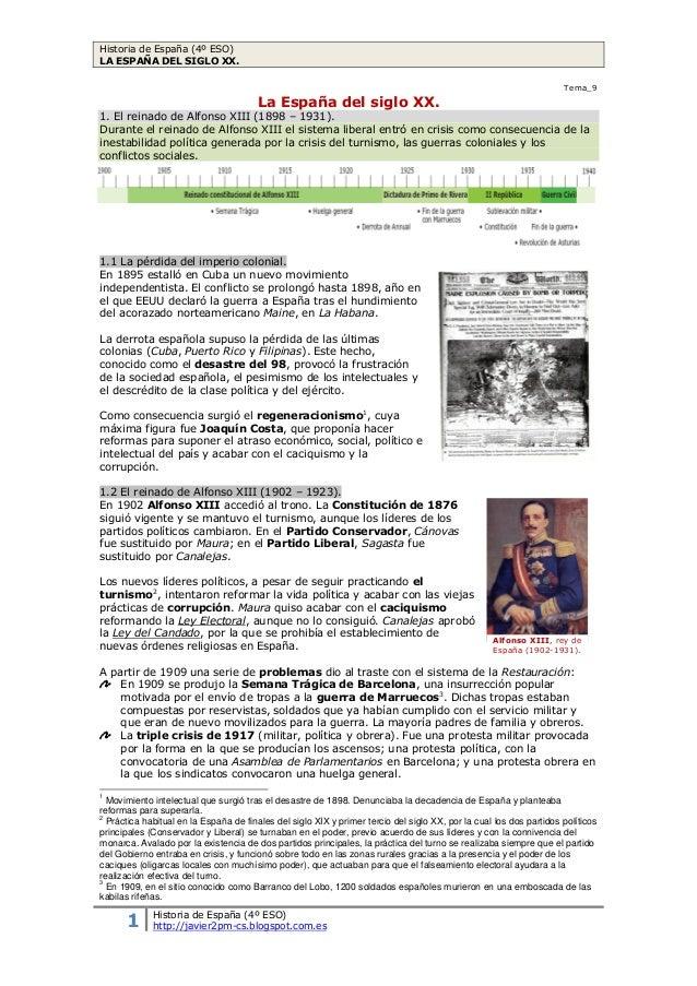 Historia de España (4º ESO) LA ESPAÑA DEL SIGLO XX. 1 Historia de España (4º ESO) http://javier2pm-cs.blogspot.com.es Tema...