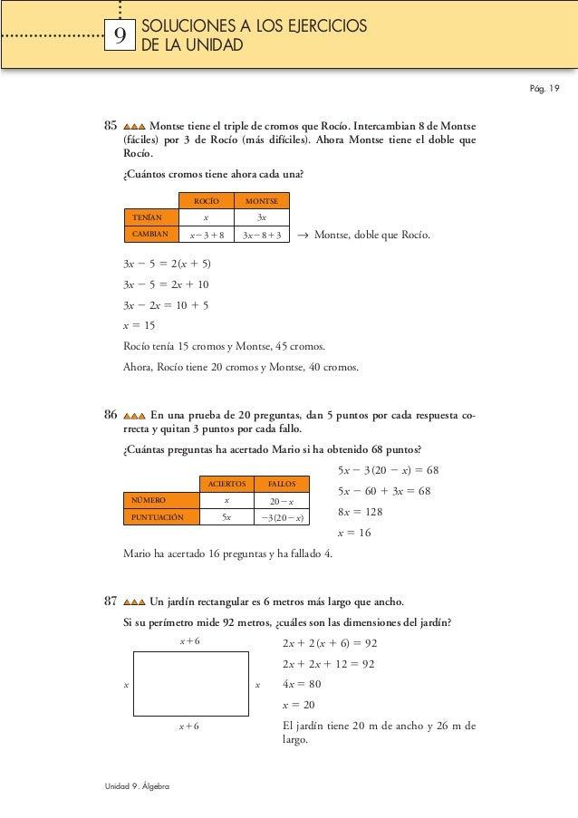 85 Montse tiene el triple de cromos que Rocío. Intercambian 8 de Montse (fáciles) por 3 de Rocío (más difíciles). Ahora Mo...