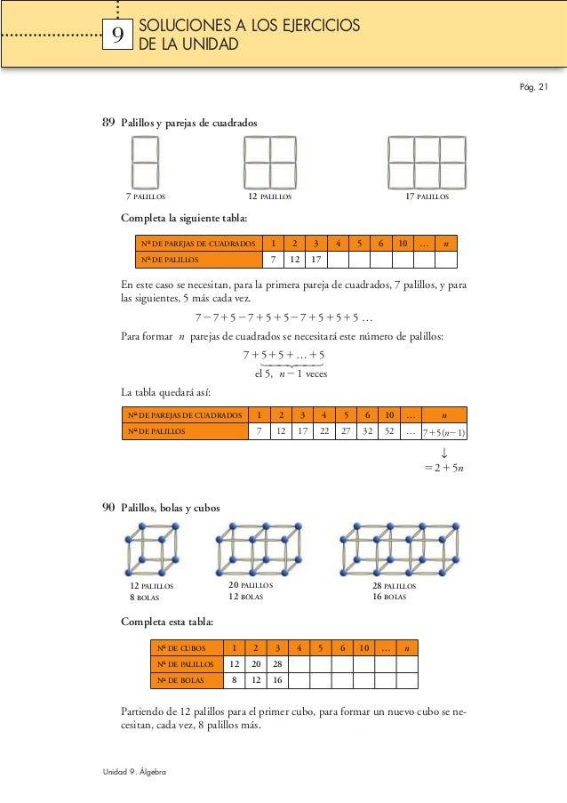 89 Palillos y parejas de cuadrados Completa la siguiente tabla: En este caso se necesitan, para la primera pareja de cuadr...