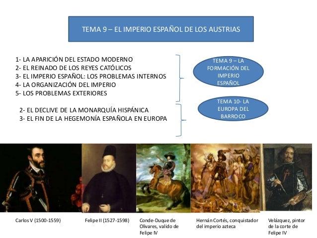 TEMA 9 – EL IMPERIO ESPAÑOL DE LOS AUSTRIAS 1- LA APARICIÓN DEL ESTADO MODERNO 2- EL REINADO DE LOS REYES CATÓLICOS 3- EL ...