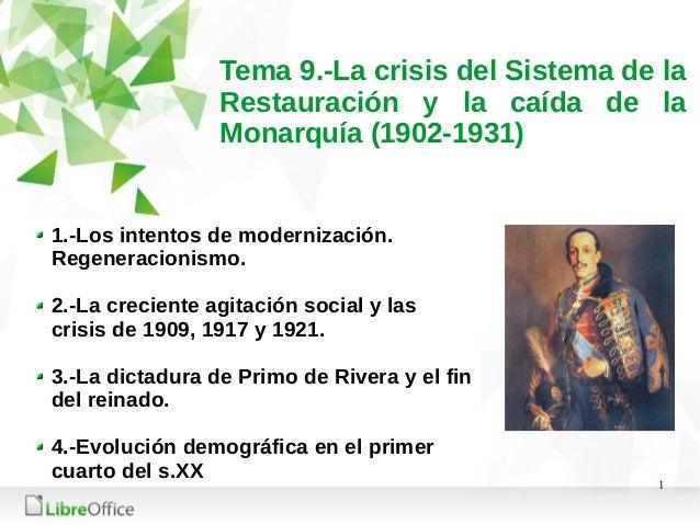 1 Tema 9.-La crisis del Sistema de la Restauración y la caída de la Monarquía (1902-1931) 1.-Los intentos de modernización...