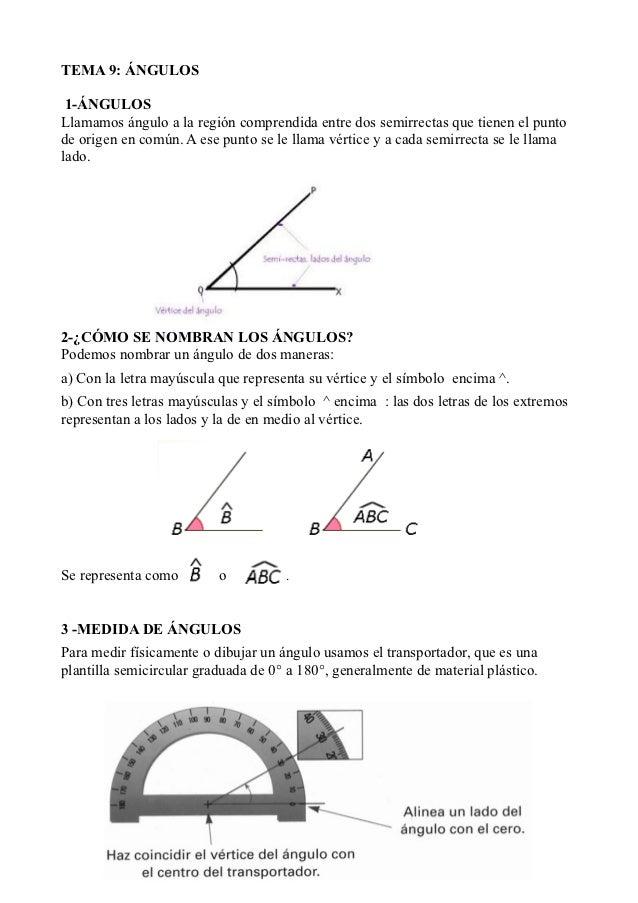 TEMA 9: ÁNGULOS 1-ÁNGULOSLlamamos ángulo a la región comprendida entre dos semirrectas que tienen el puntode origen en com...