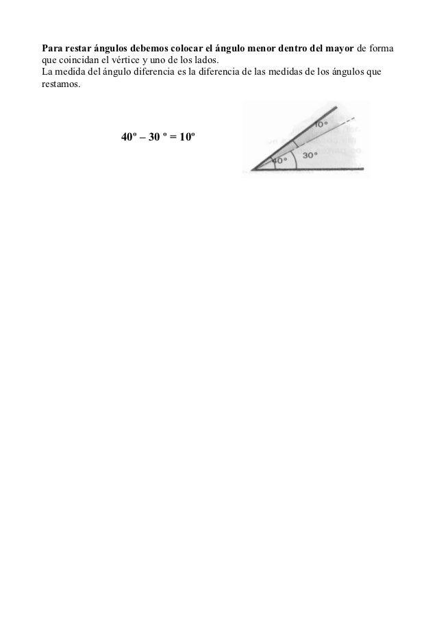 Para restar ángulos debemos colocar el ángulo menor dentro del mayor de formaque coincidan el vértice y uno de los lados.L...