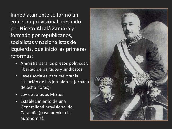 Gobierno provisional de la Segunda República: sentados: Lerroux, Azaña, Alcalá Zamora, Besteiro y Álvaro deAlbornoz. De pi...