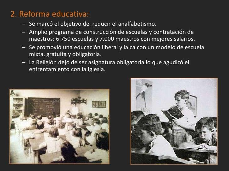 4. Reforma agraria:– Fue la más ambiciosa pues intentó resolver las  desigualdades en el medio rural.– En 1932 se aprobó l...