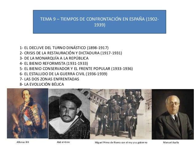 TEMA 9 – TIEMPOS DE CONFRONTACIÓN EN ESPAÑA (1902- 1939) 1- EL DECLIVE DEL TURNO DINÁSTICO (1898-1917) 2- CRISIS DE LA RES...