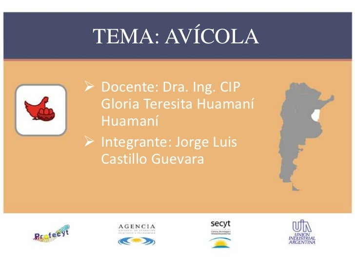 TEMA: AVÍCOLA Docente: Dra. Ing. CIP  Gloria Teresita Huamaní  Huamaní Integrante: Jorge Luis  Castillo Guevara