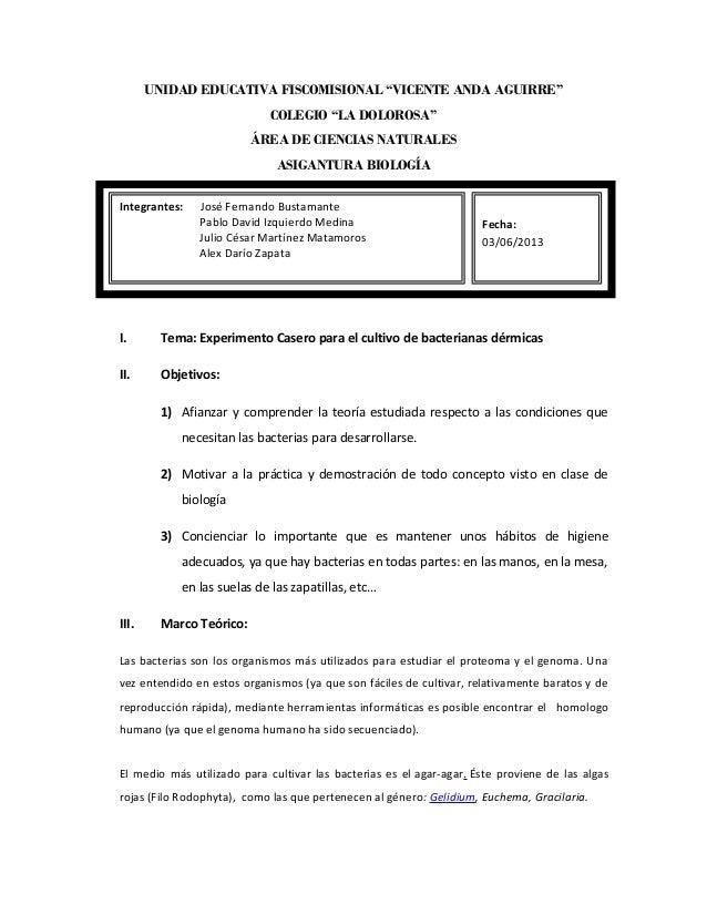 """UNIDAD EDUCATIVA FISCOMISIONAL """"VICENTE ANDA AGUIRRE""""  COLEGIO """"LA DOLOROSA""""  ÁREA DE CIENCIAS NATURALES  ASIGANTURA BIOLO..."""