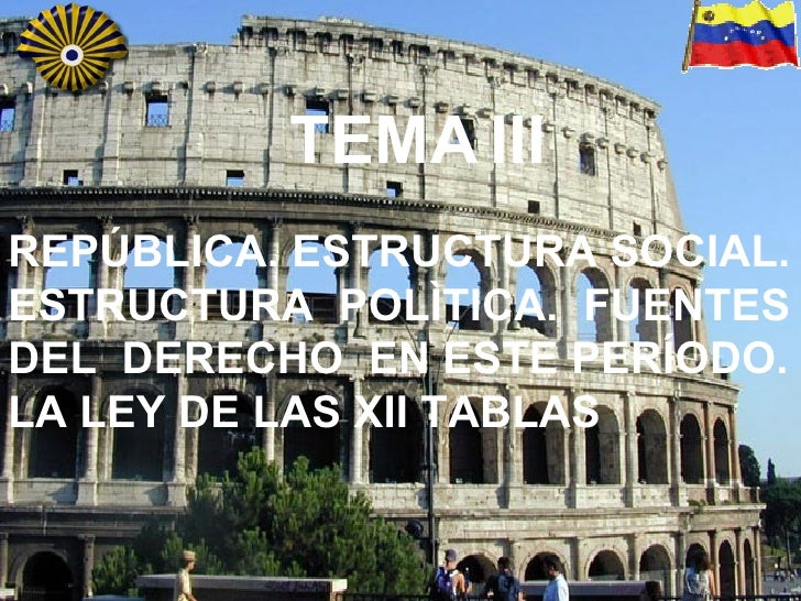 TEMA   III REPÚBLICA. ESTRUCTURA SOCIAL. ESTRUCTURA  POLÌTICA.  FUENTES  DEL  DERECHO  EN ESTE PERÍODO. LA LEY DE LAS XII ...