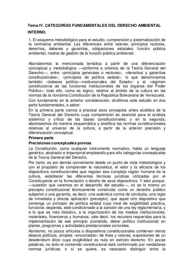 Tema IV. CATEGORÍAS FUNDAMENTALES DEL DERECHO AMBIENTAL INTERNO. 1. El esquema metodológico para el estudio, comprensión y...