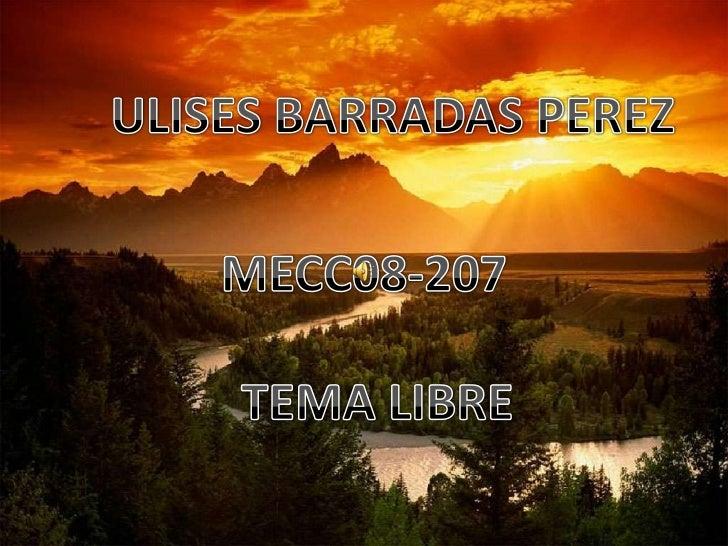 ULISES BARRADAS PEREZ<br />MECC08-207<br />TEMA LIBRE<br />