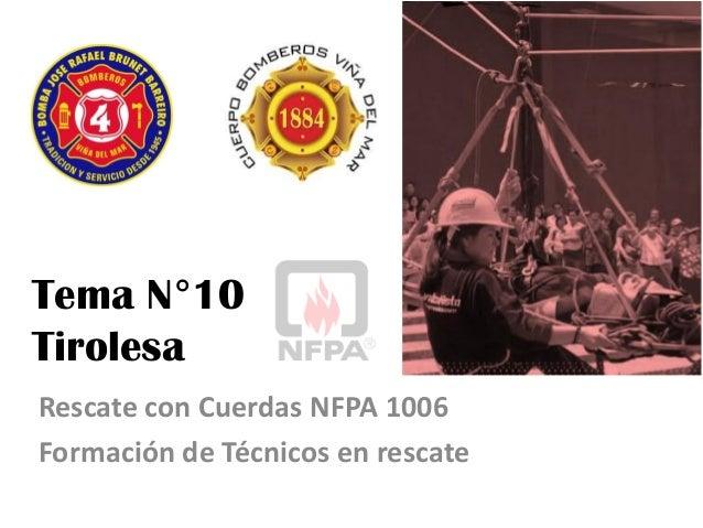 Tema N°10 Tirolesa Rescate con Cuerdas NFPA 1006 Formación de Técnicos en rescate