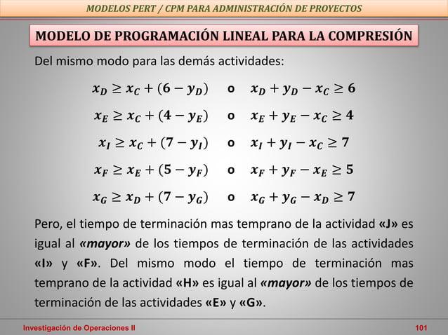 Investigación de Operaciones II 101 MODELOS PERT / CPM PARA ADMINISTRACIÓN DE PROYECTOS MODELO DE PROGRAMACIÓN LINEAL PARA...