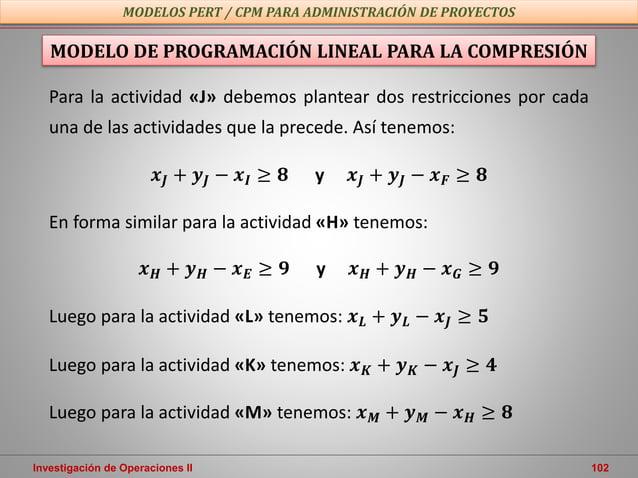 Investigación de Operaciones II 102 MODELOS PERT / CPM PARA ADMINISTRACIÓN DE PROYECTOS MODELO DE PROGRAMACIÓN LINEAL PARA...