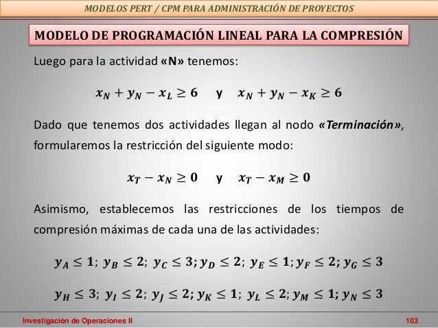Investigación de Operaciones II 103 MODELOS PERT / CPM PARA ADMINISTRACIÓN DE PROYECTOS MODELO DE PROGRAMACIÓN LINEAL PARA...