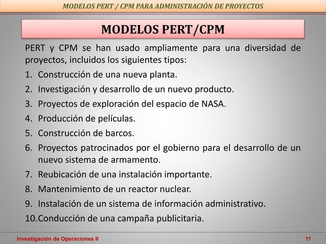 Investigación de Operaciones II 11 MODELOS PERT/CPM MODELOS PERT / CPM PARA ADMINISTRACIÓN DE PROYECTOS PERT y CPM se han ...