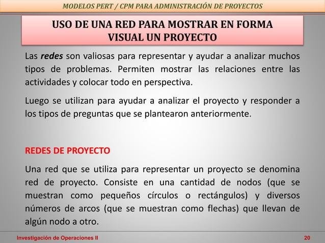 Investigación de Operaciones II 20 USO DE UNA RED PARA MOSTRAR EN FORMA VISUAL UN PROYECTO Las redes son valiosas para rep...