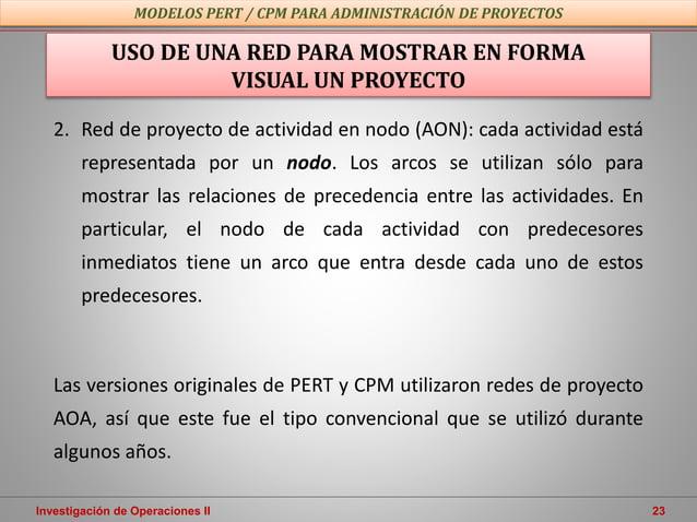 Investigación de Operaciones II 23 USO DE UNA RED PARA MOSTRAR EN FORMA VISUAL UN PROYECTO 2. Red de proyecto de actividad...