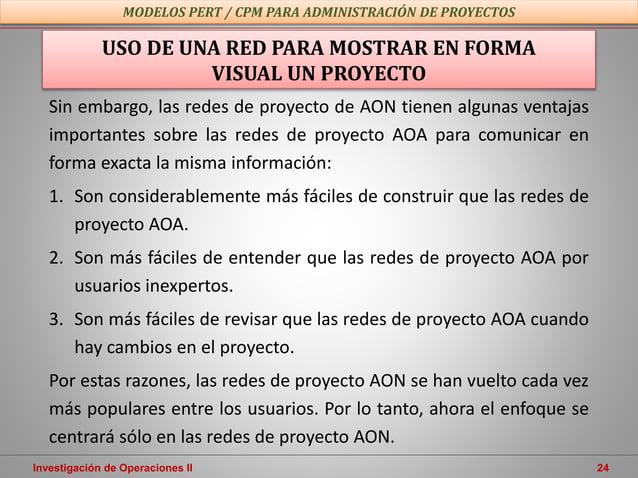 Investigación de Operaciones II 24 USO DE UNA RED PARA MOSTRAR EN FORMA VISUAL UN PROYECTO Sin embargo, las redes de proye...