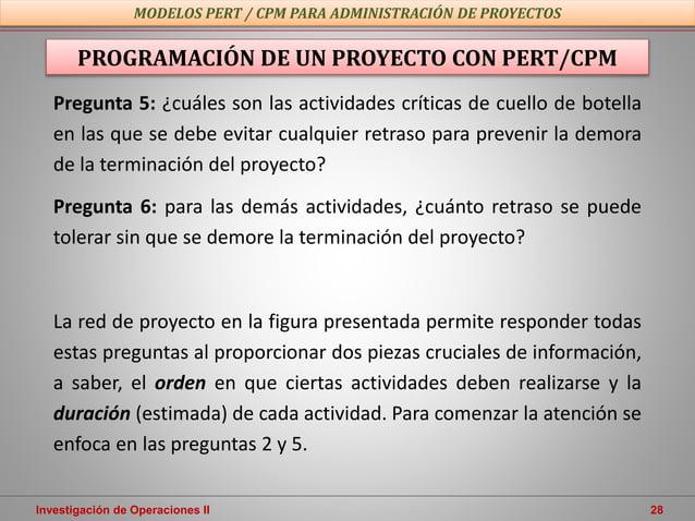 Investigación de Operaciones II 28 PROGRAMACIÓN DE UN PROYECTO CON PERT/CPM MODELOS PERT / CPM PARA ADMINISTRACIÓN DE PROY...
