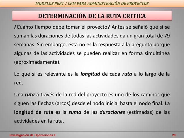 Investigación de Operaciones II 29 MODELOS PERT / CPM PARA ADMINISTRACIÓN DE PROYECTOS ¿Cuánto tiempo debe tomar el proyec...