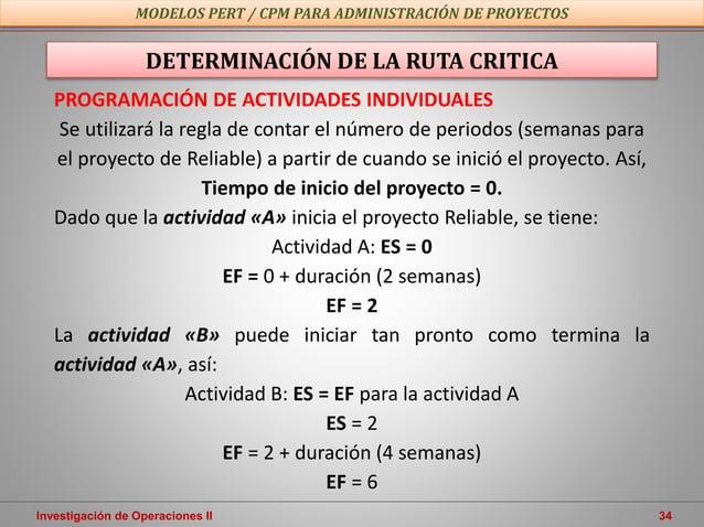 Investigación de Operaciones II 34 MODELOS PERT / CPM PARA ADMINISTRACIÓN DE PROYECTOS PROGRAMACIÓN DE ACTIVIDADES INDIVID...