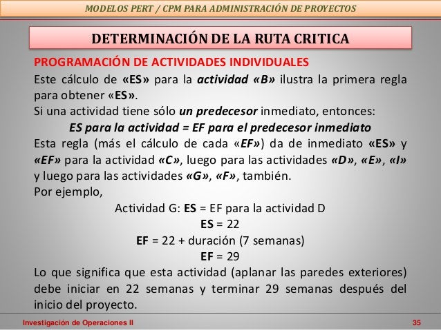 Investigación de Operaciones II 35 MODELOS PERT / CPM PARA ADMINISTRACIÓN DE PROYECTOS PROGRAMACIÓN DE ACTIVIDADES INDIVID...
