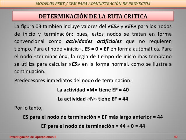 Investigación de Operaciones II 40 MODELOS PERT / CPM PARA ADMINISTRACIÓN DE PROYECTOS DETERMINACIÓN DE LA RUTA CRITICA La...