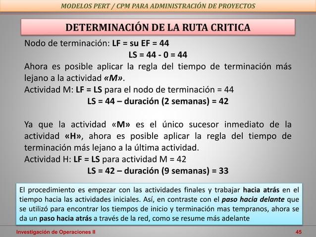 Investigación de Operaciones II 45 MODELOS PERT / CPM PARA ADMINISTRACIÓN DE PROYECTOS DETERMINACIÓN DE LA RUTA CRITICA No...