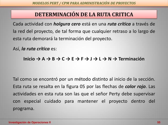 Investigación de Operaciones II 55 MODELOS PERT / CPM PARA ADMINISTRACIÓN DE PROYECTOS DETERMINACIÓN DE LA RUTA CRITICA Ca...