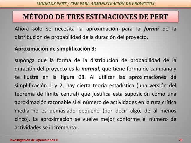 Investigación de Operaciones II 76 MODELOS PERT / CPM PARA ADMINISTRACIÓN DE PROYECTOS MÉTODO DE TRES ESTIMACIONES DE PERT...