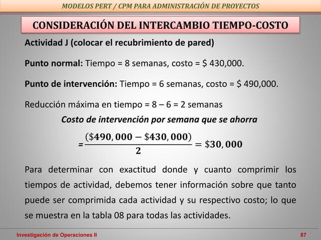 Investigación de Operaciones II 87 MODELOS PERT / CPM PARA ADMINISTRACIÓN DE PROYECTOS CONSIDERACIÓN DEL INTERCAMBIO TIEMP...