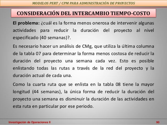 Investigación de Operaciones II 90 MODELOS PERT / CPM PARA ADMINISTRACIÓN DE PROYECTOS CONSIDERACIÓN DEL INTERCAMBIO TIEMP...