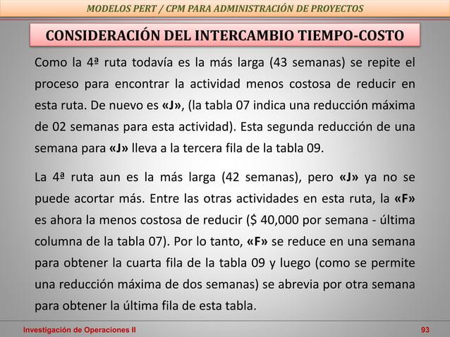 Investigación de Operaciones II 93 MODELOS PERT / CPM PARA ADMINISTRACIÓN DE PROYECTOS CONSIDERACIÓN DEL INTERCAMBIO TIEMP...