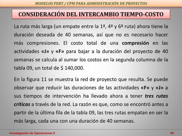 Investigación de Operaciones II 95 MODELOS PERT / CPM PARA ADMINISTRACIÓN DE PROYECTOS CONSIDERACIÓN DEL INTERCAMBIO TIEMP...