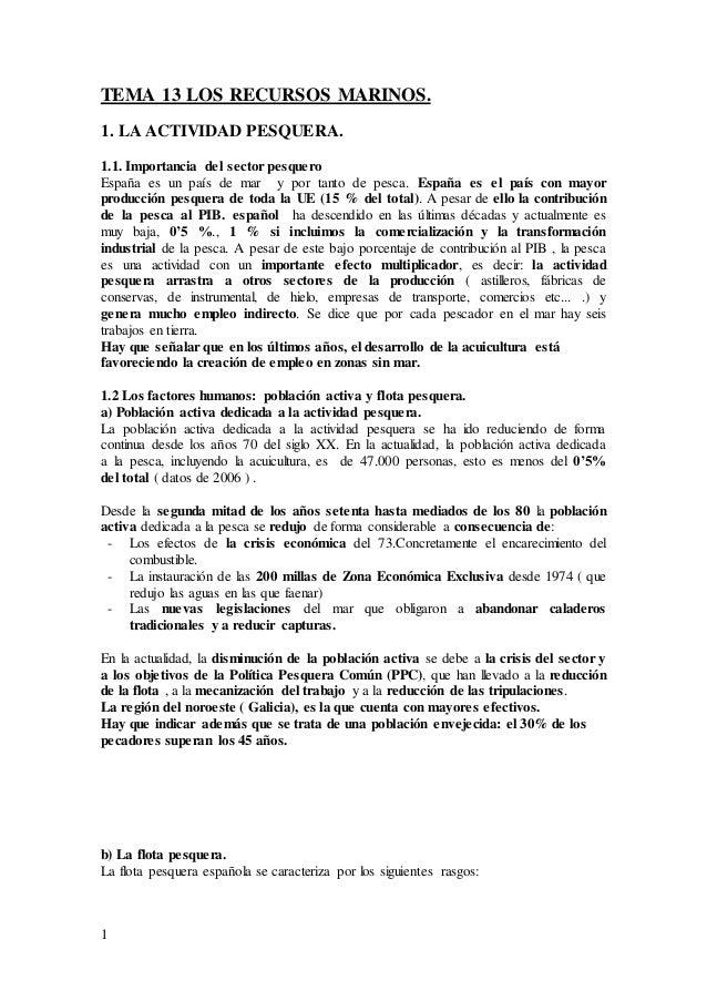 1 TEMA 13 LOS RECURSOS MARINOS. 1. LA ACTIVIDAD PESQUERA. 1.1. Importancia del sector pesquero España es un país de mar y ...