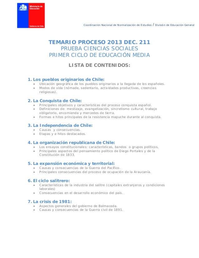 Coordinación Nacional de Normalización de Estudios / División de Educación General TEMARIO PROCESO 2013 DEC. 211 PRUEBA CI...