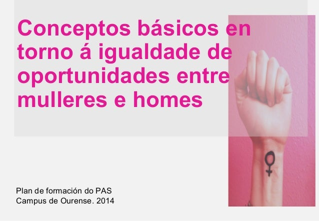 Conceptos básicos en torno á igualdade de oportunidades entre mulleres e homes Plan de formación do PAS Campus de Ourense....