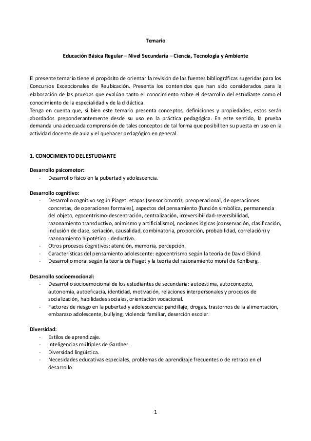 1 Temario Educación Básica Regular – Nivel Secundaria – Ciencia, Tecnología y Ambiente El presente temario tiene el propós...